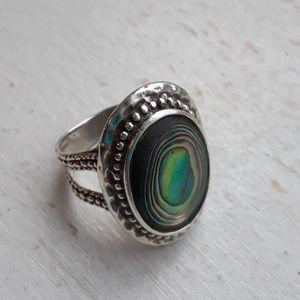 Antique .925 silver and abalone ring,  6